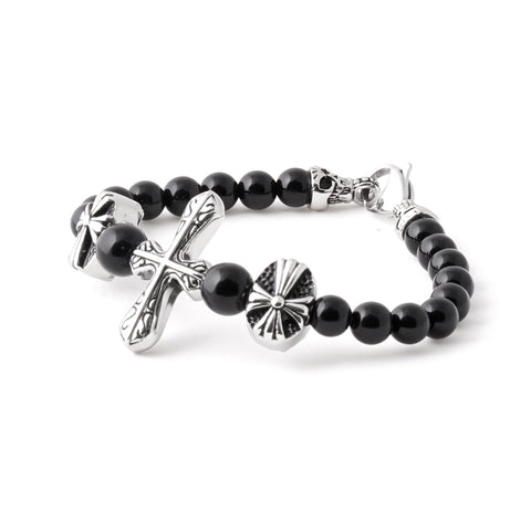Stainless Steel Cross Beaded Bracelet