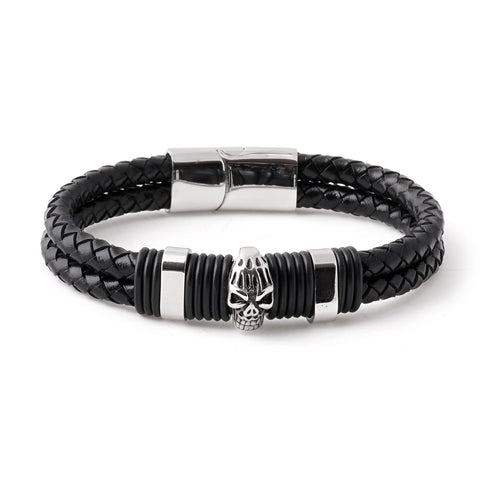 Skull Charm Braided Leather Bracelet