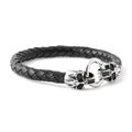 BLACK Steel Skull Braided Leather Bracelet - URBANCREWS