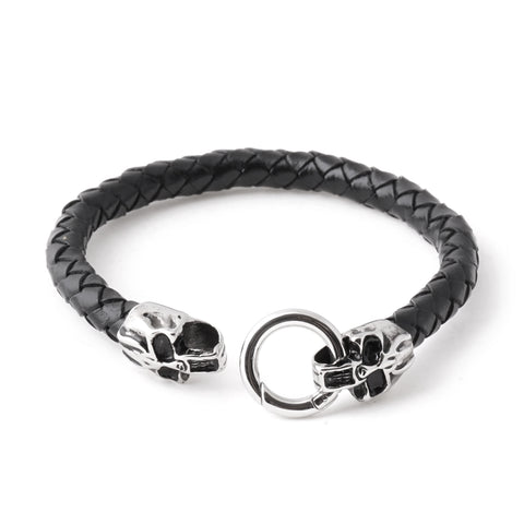 Steel Skull Braided Leather Bracelet