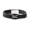 BLACK Center Bead Braided Leather Bracelet - URBANCREWS