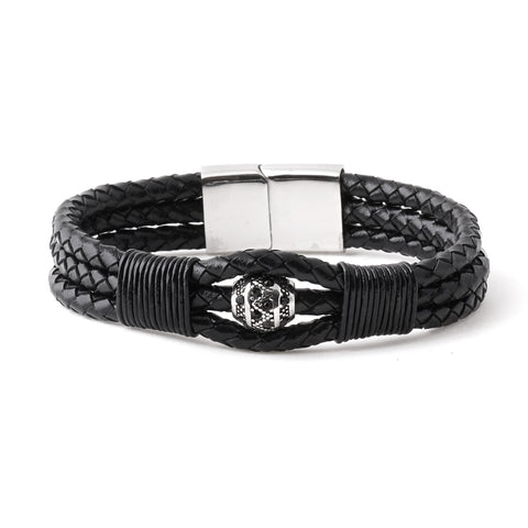 Center Bead Braided Leather Bracelet