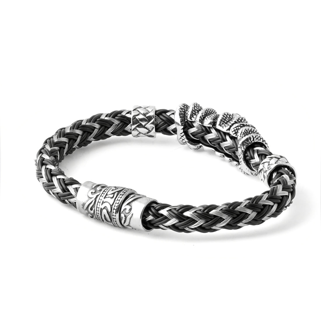 BLACK Stainless Steel Wire and Rubber Bracelet - URBANCREWS