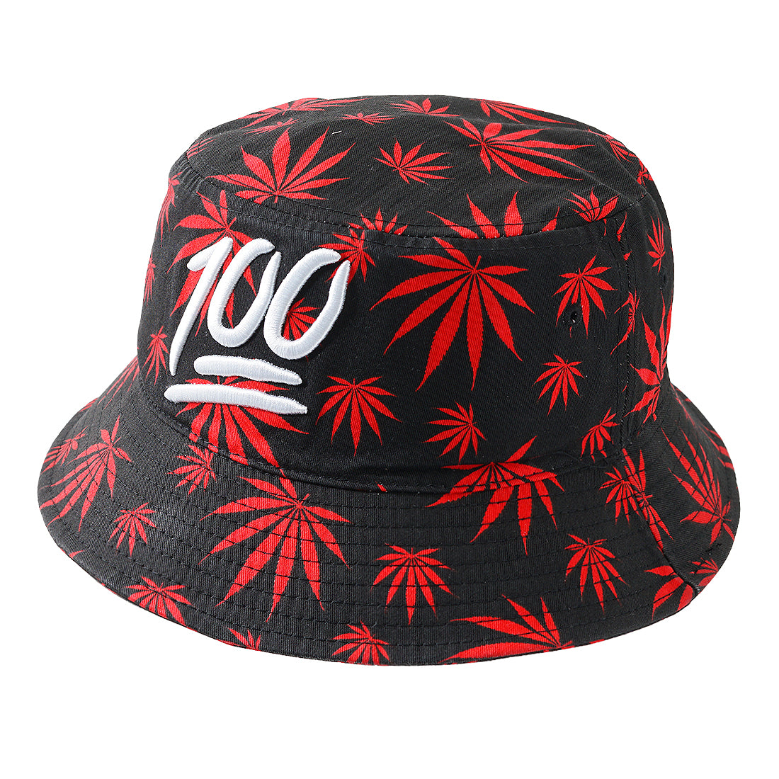 RED 100 Weed Pattern Bucket Hat - URBANCREWS