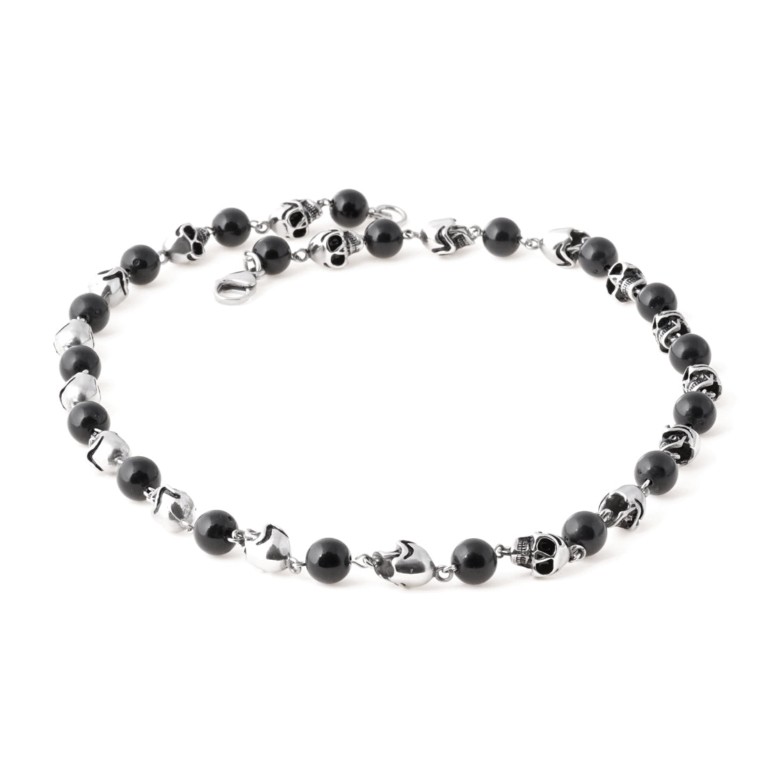 BLACK Steel Skull Onyx Bead Necklace - URBANCREWS