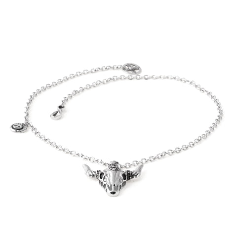 Stainless Steel Longhorn Skull Necklace