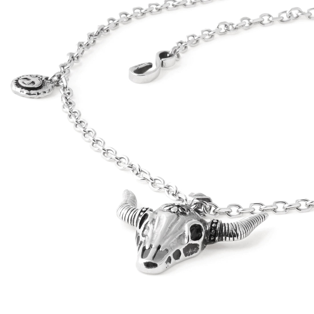 BLACK Stainless Steel Longhorn Skull Necklace - URBANCREWS