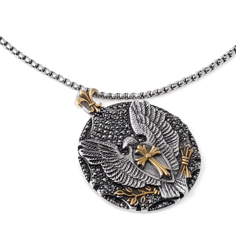 Stainless Steel Eagle Cross Pendant Necklace