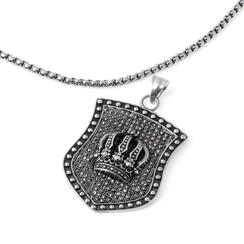 Stainless Steel Crown Pendant Necklace