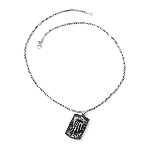 Stainless Steel Skeleton Hand Pendant Necklace
