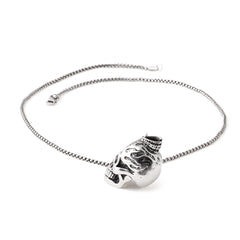 SILVER Stainless Steel Skull Flame Pendant Necklace - URBANCREWS
