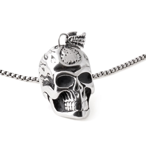 Stainless Steel Skull Flame Pendant Necklace