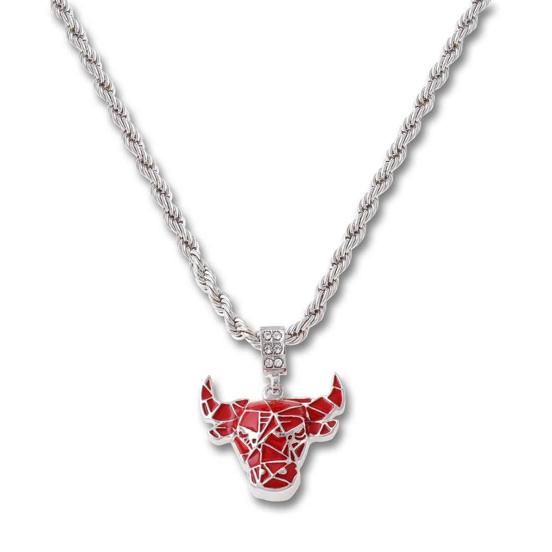 SILVER Bull Pendant Necklace - URBANCREWS
