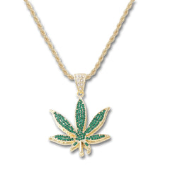 GOLD Green Weed Pendant Necklace - URBANCREWS