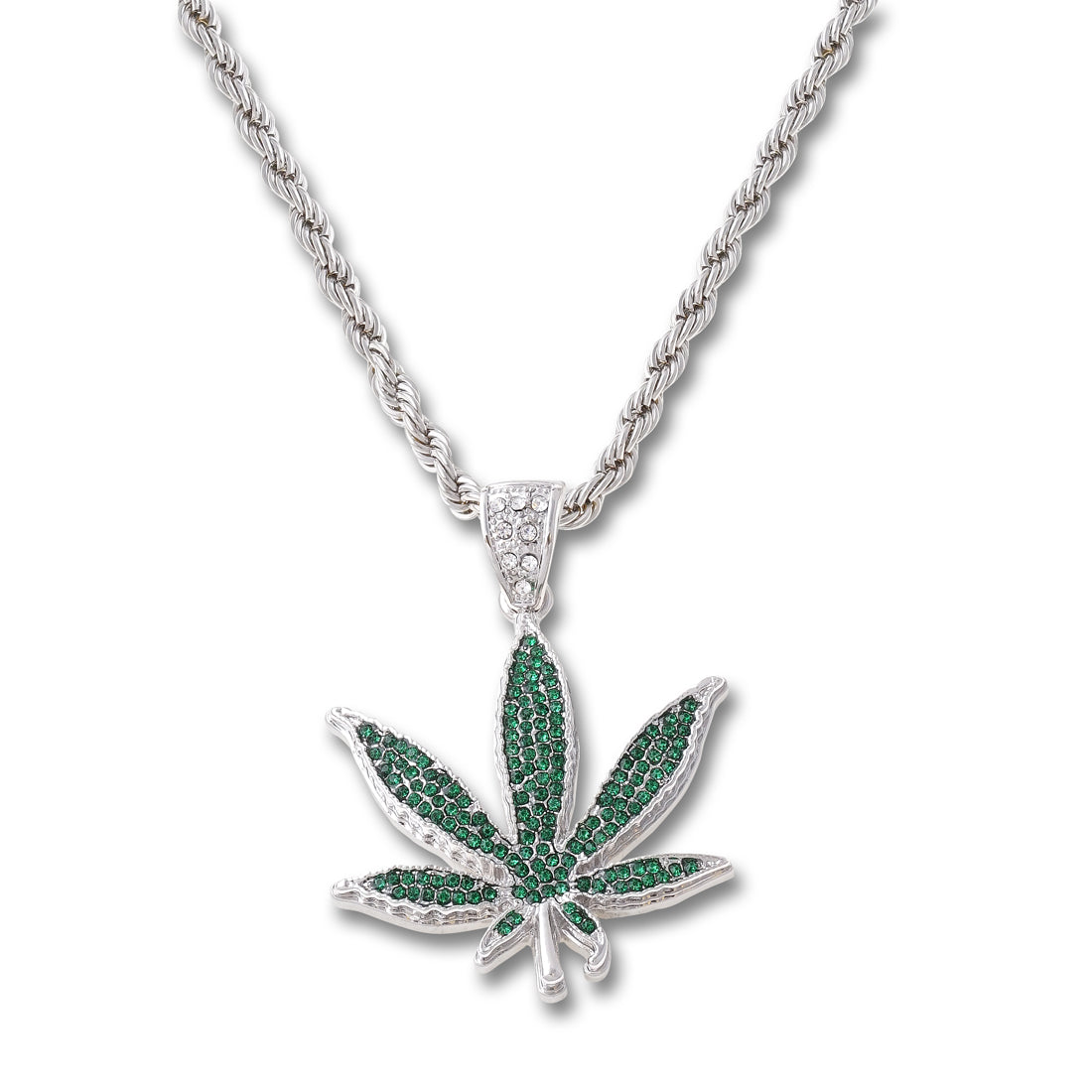 SILVER Green Weed Pendant Necklace - URBANCREWS