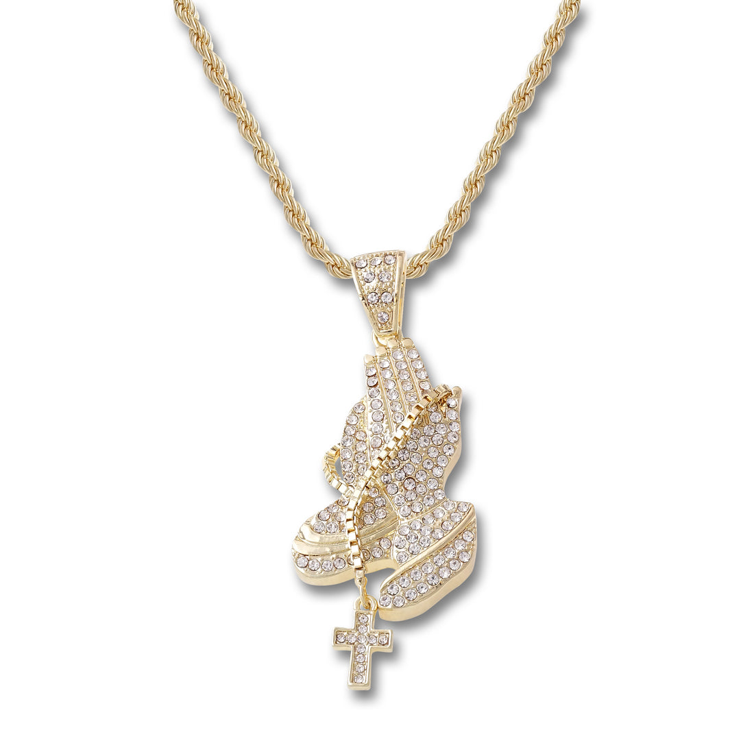 GOLD Praying Hands Cross Pendant Necklace - URBANCREWS
