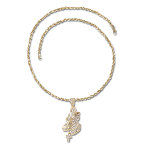 Praying Hands Cross Pendant Necklace