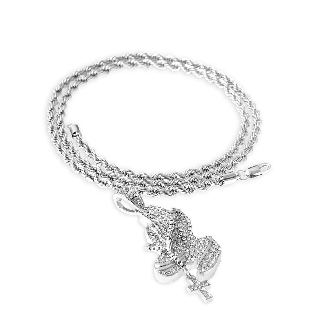 SILVER Praying Hands Cross Pendant Necklace - URBANCREWS