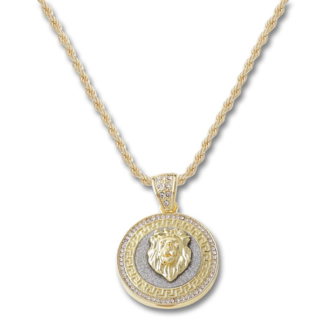 Lion Head Circle Pendant Necklace