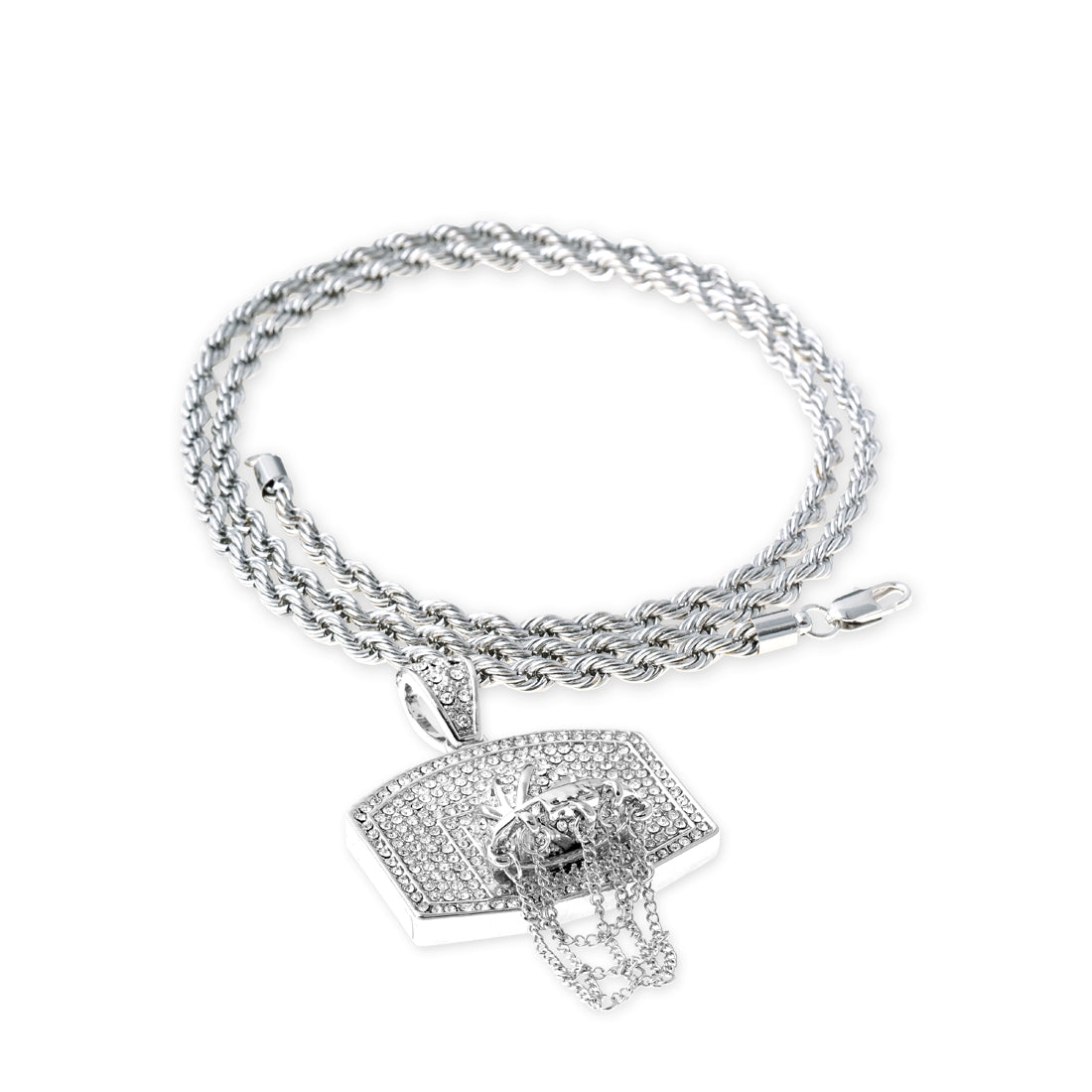 SILVER Basketball Backboard Pendant Necklace - URBANCREWS