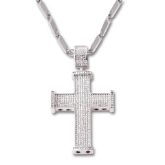 SILVER Diamond Cross Pendant Necklace - URBANCREWS