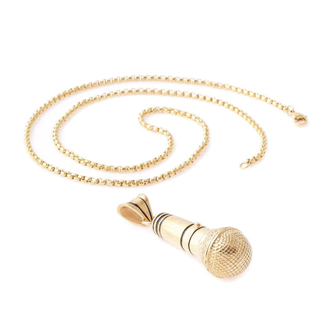 Gold Microphone Pendant Necklace