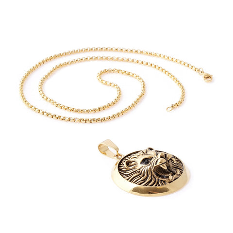 Lion Face Circle Pendant Necklace