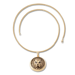 GOLD Lion Face Circle Pendant Necklace - URBANCREWS
