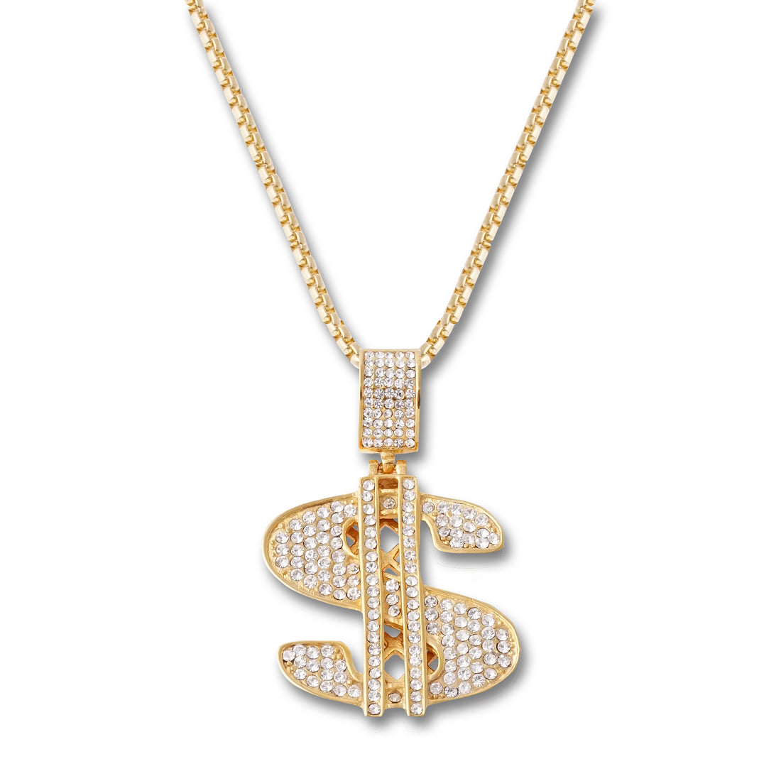 GOLD Dollar Sign Pendant Necklace - URBANCREWS