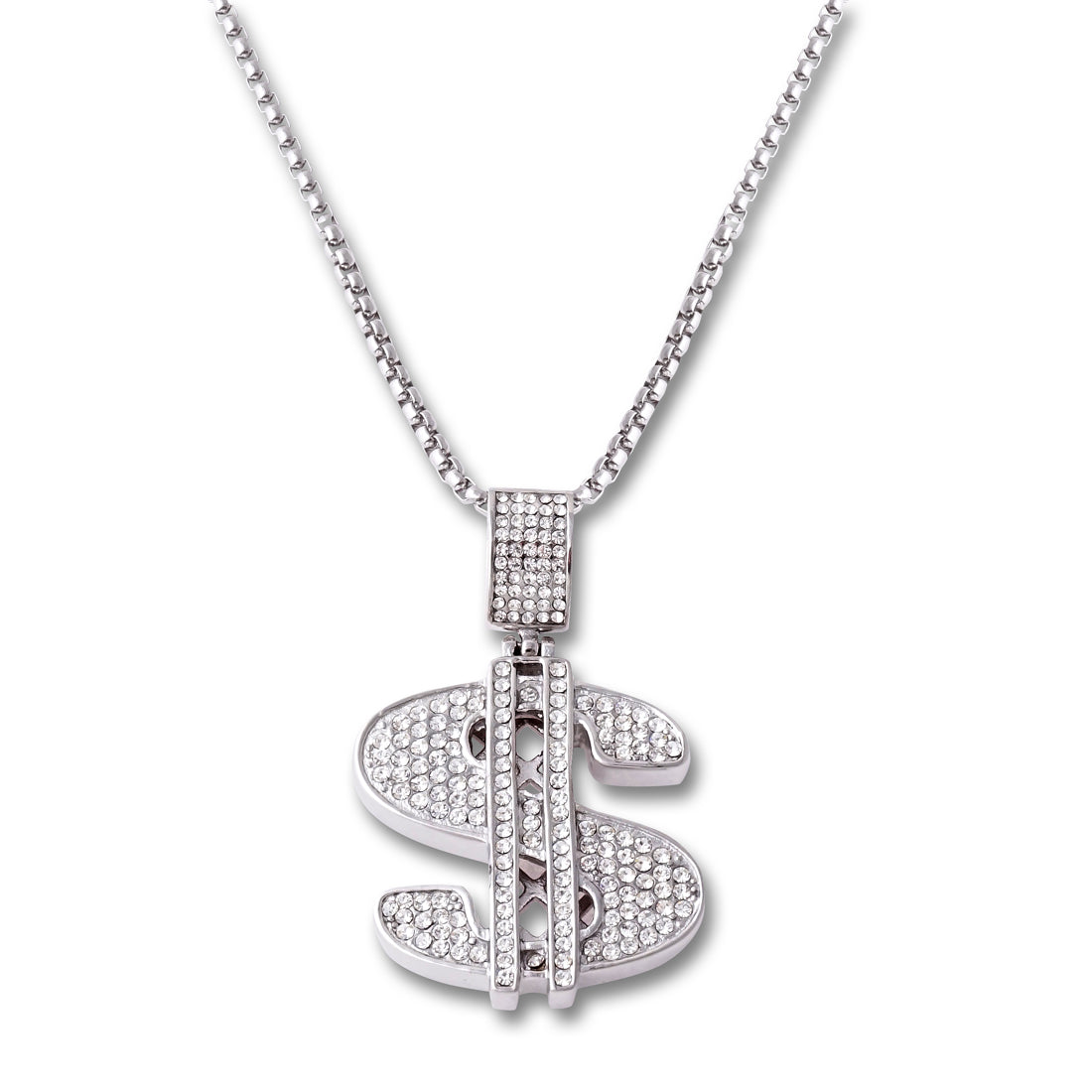 SILVER Dollar Sign Pendant Necklace - URBANCREWS