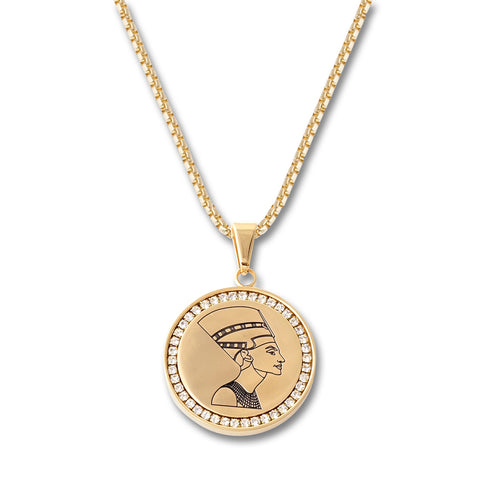 Egyptian Bust Circle Pendant Necklace