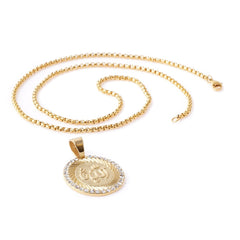 GOLD Arabic Letters Circle Pendant Necklace - URBANCREWS