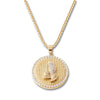 GOLD Praying Hands Circle Pendant Necklace - URBANCREWS