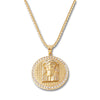 GOLD Jesus Face Circle Pendant Necklace - URBANCREWS