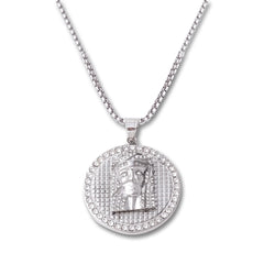 SILVER Jesus Face Circle Pendant Necklace - URBANCREWS