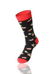 BLACK Dogs And Mustard Novelty Socks - URBANCREWS