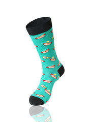 GREEN Dogs And Mustard Novelty Socks - URBANCREWS