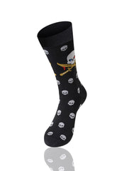 BLACK Skull And Bones Novelty Socks - URBANCREWS
