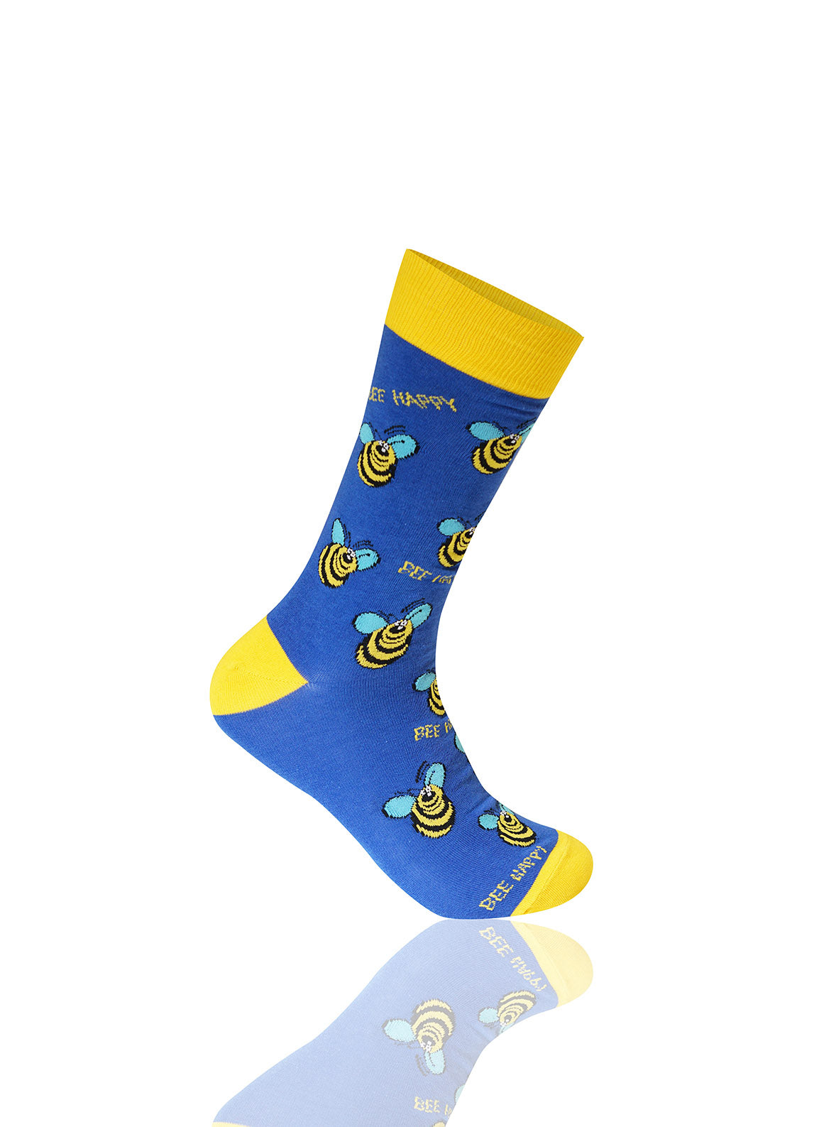 BLUE Bee Happy Novelty Socks - URBANCREWS
