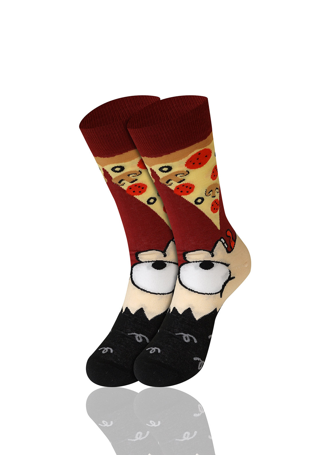 BLACK Man Eating Pizza Novelty Socks - URBANCREWS
