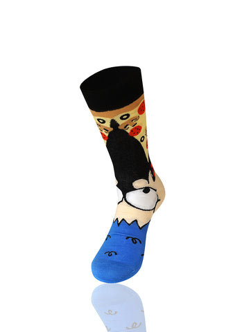 Man Eating Pizza Novelty Socks