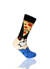 BLUE Man Eating Pizza Novelty Socks - URBANCREWS