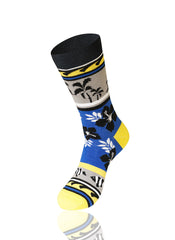 BLUE Fish And Flower Novelty Socks - URBANCREWS