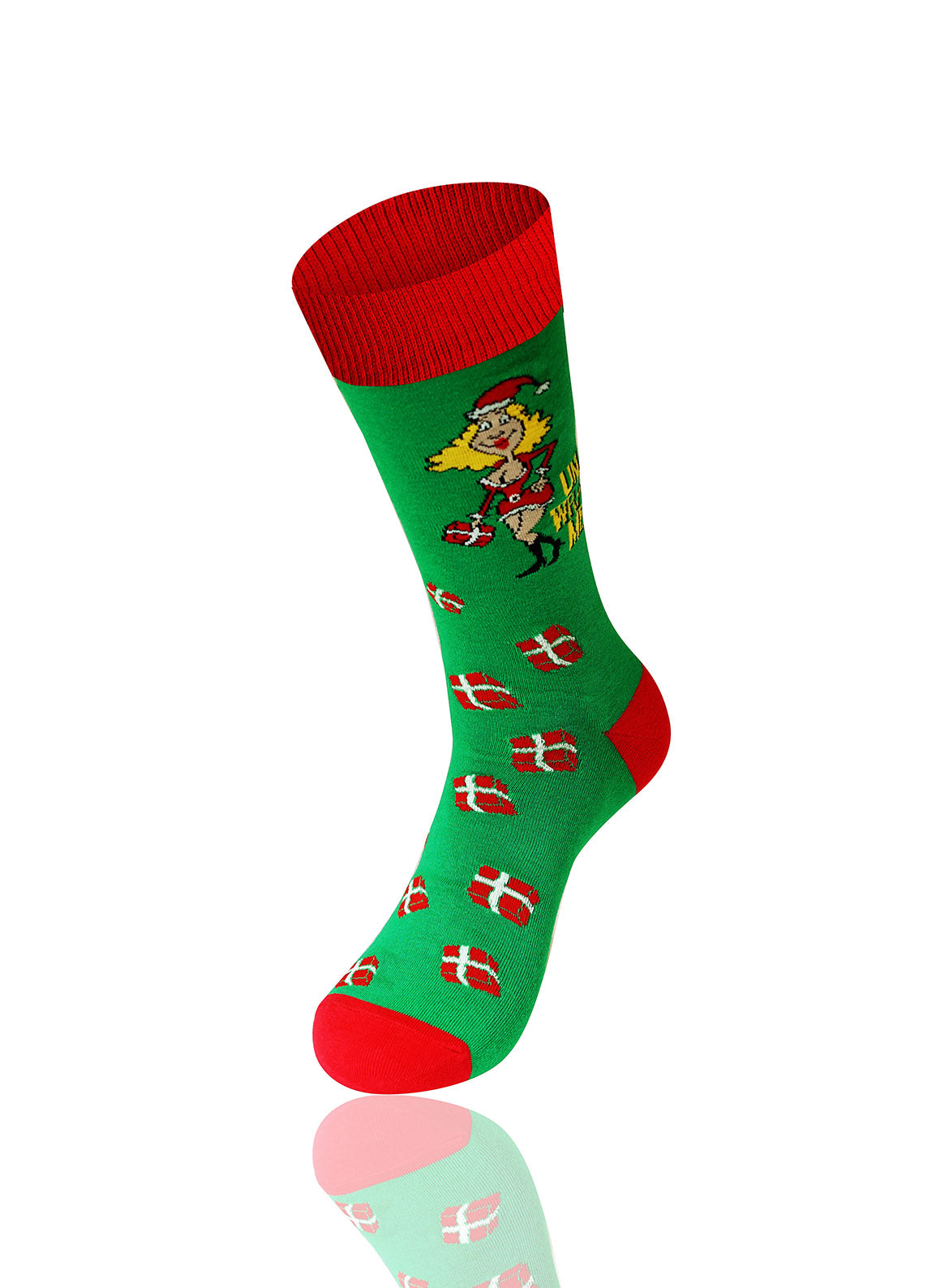 GREEN Unwrap Me Novelty Socks - URBANCREWS
