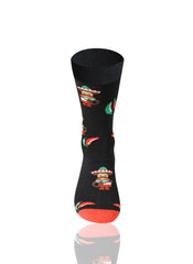 BLACK Black Chili Novelty Socks - URBANCREWS