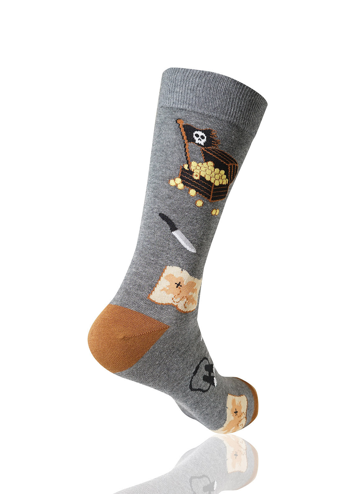 GRAY Treasure Novelty Socks - URBANCREWS