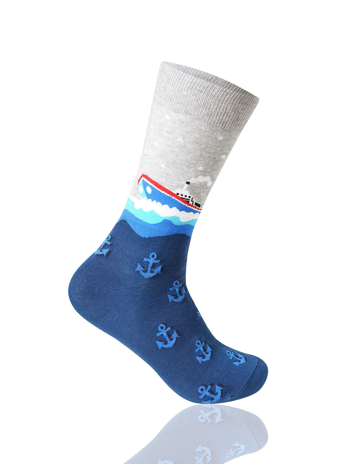 NAVY Steamboat Novelty Socks - URBANCREWS