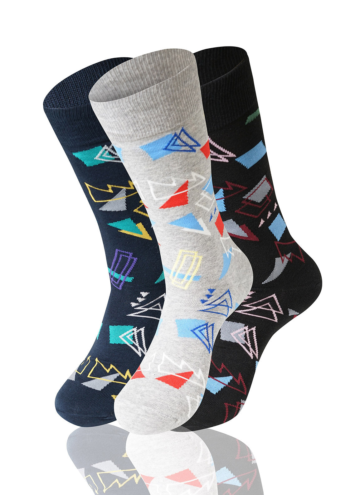 ASSORTED Triangles 3 Pack Novelty Socks - URBANCREWS