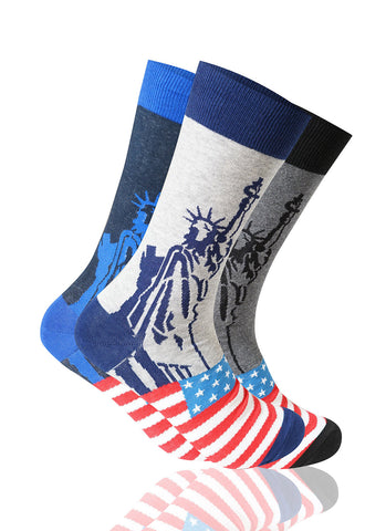 Lady Liberty 3 Pack Novelty Socks
