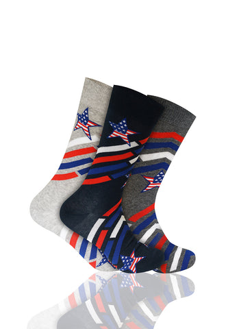 Star Spangled 3 Pack Novelty Socks